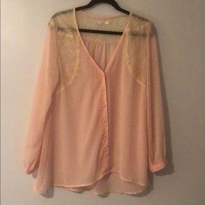 LF Pink Button Up